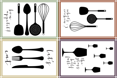 Utensils in the Kitchen Teatowel fabric by karmie on Spoonflower - custom fabric