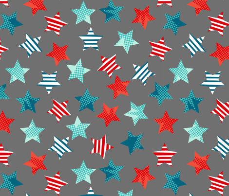 Hero stars multi directional grey fabric by cjldesigns on Spoonflower - custom fabric