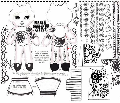 side-show girl B&W II fabric by eat_my_sweet_dust on Spoonflower - custom fabric