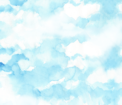 sky watercolor drawing fabric by katarina on Spoonflower - custom fabric