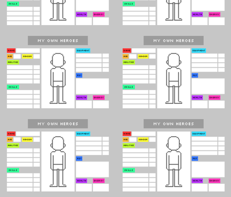 My own heroes (character sheets) fabric by petitspixels on Spoonflower - custom fabric