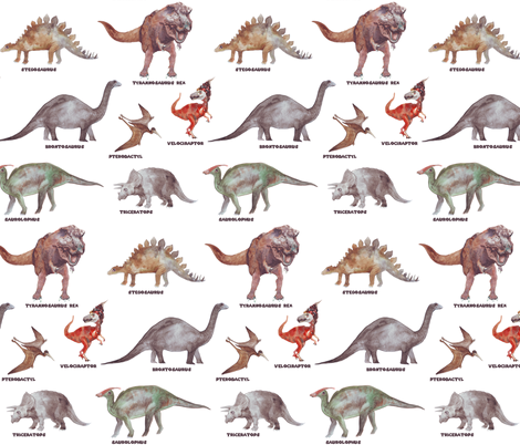 dinosaur in watercolor fabric by katarina on Spoonflower - custom fabric