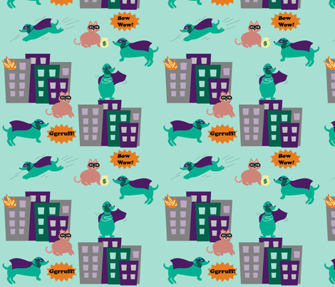Super-Sausage_ fabric by annelinesophiadesigns on Spoonflower - custom fabric