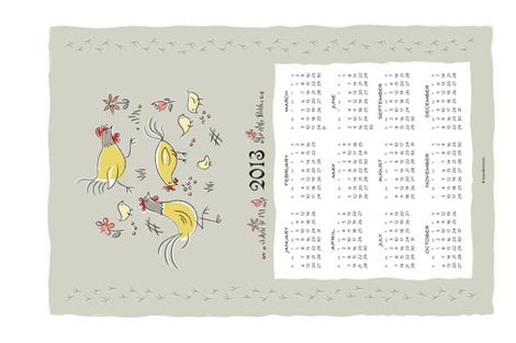 feeling peckish 2013 calendar towel fabric by brandbird on Spoonflower - custom fabric