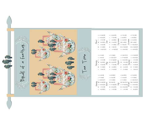 Birds of a Feather 2013 Calendar tea towel
