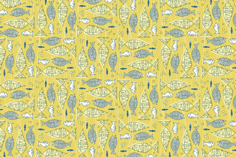 something's fishy tea towel fabric by brandbird on Spoonflower - custom fabric