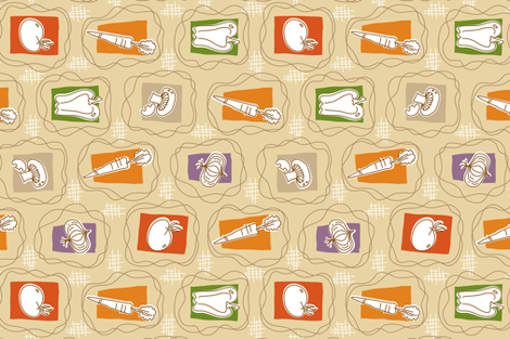 salad toss tea towel fabric by brandbird on Spoonflower - custom fabric