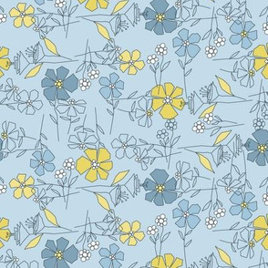 blooming blue tea towel