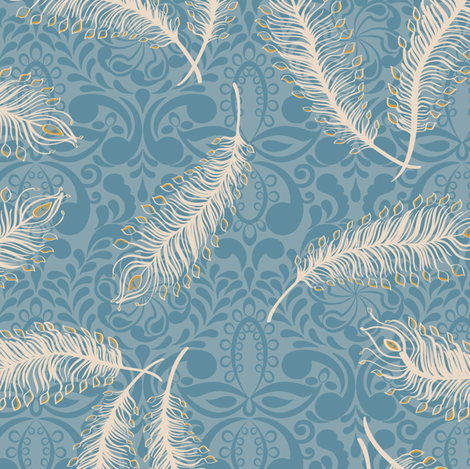 Paisley Feather Medallion Print Blues fabric by modernprintcraft on Spoonflower - custom fabric