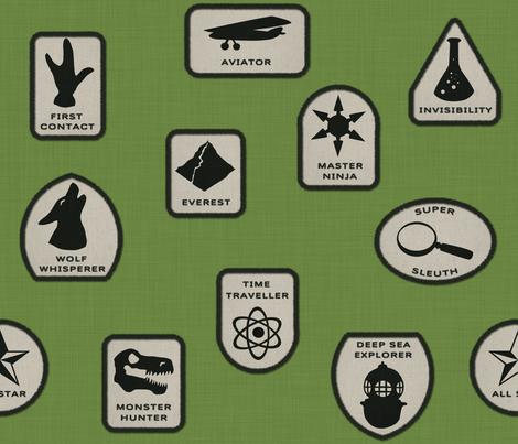 Heroic Merit Badges fabric by francine on Spoonflower - custom fabric