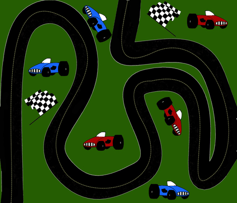Around The Race Track Racing Heros fabric by onestitchdesigns on Spoonflower - custom fabric