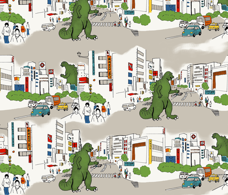Godzilla Toile fabric by minimiel on Spoonflower - custom fabric