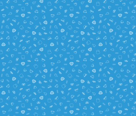 Hero Hats and Masks Scatter - stratosphere blue fabric by hootenannit on Spoonflower - custom fabric