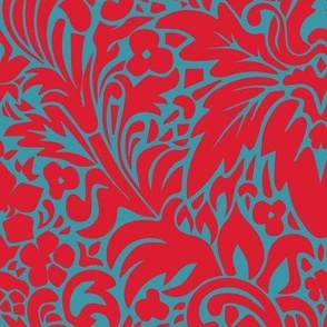 Turquoise & Red Crush Modern Arts & Crafts Grape Leaf