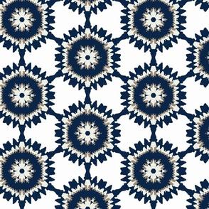 Blue & Tan Modern Ikat