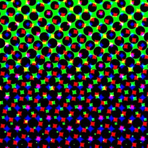CMYK halftone gradient - purple/green/white