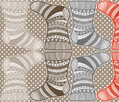 christmass_socks_small_natural fabric by nadja_petremand on Spoonflower - custom fabric