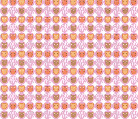 Lions, Tigers, Bears Big Circles (Girl) fabric by audzipan on Spoonflower - custom fabric
