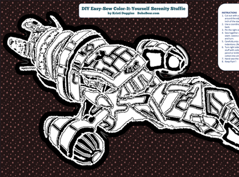 Hand Drawn Space Ship Pillow Pattern DIY Project