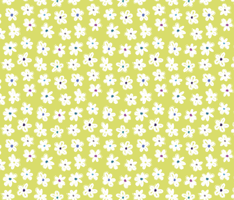 Scribble Flowers Lime fabric by rosiesimons on Spoonflower - custom fabric