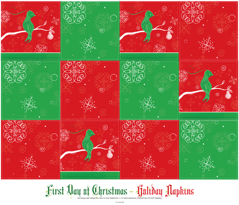 First Day of Christmas - Holiday Cocktail Napkins fabric by lucindawei on Spoonflower - custom fabric