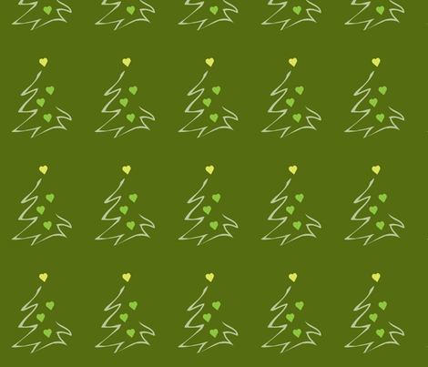 HeartXmas1-green fabric by msnina on Spoonflower - custom fabric