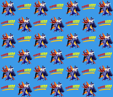 Superhero On Superhero Blue fabric by arttreedesigns on Spoonflower - custom fabric