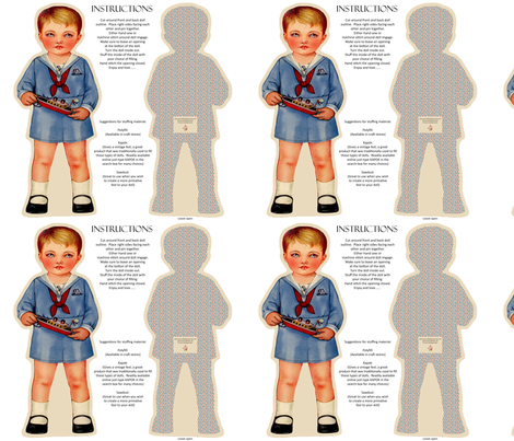 CLASSIC VINTAGE CLOTH DOLL PATTERN fabric by yourcraftbook on Spoonflower - custom fabric