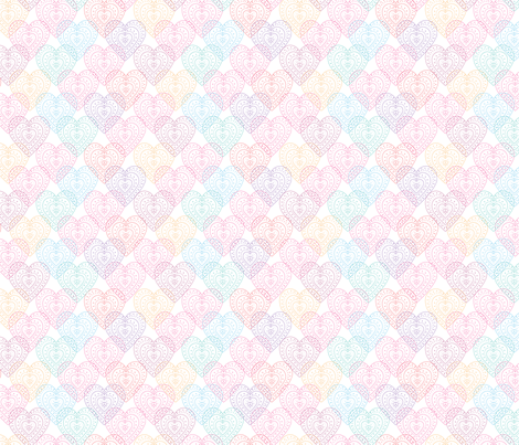Patterned hearts fabric by rosiesimons on Spoonflower - custom fabric