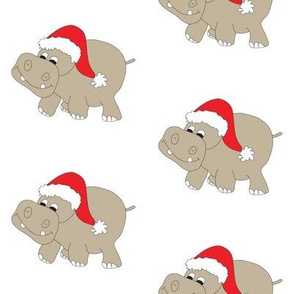 Christmas Hippo White Background