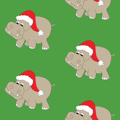Christmas Hippos on Green fabric by coveredbydesign on Spoonflower - custom fabric