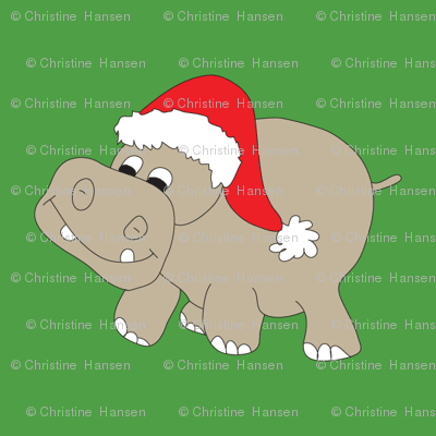 Christmas Hippos on Green