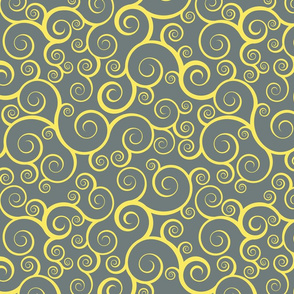 Fancy Swirls - Yellow on Grey