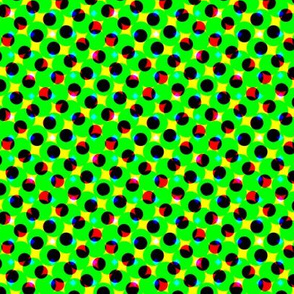 CMYK halftone dots-green