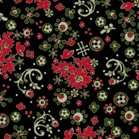 Ditsy Flora / black fabric by paragonstudios on Spoonflower - custom fabric