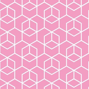 Hexagon Trellis - white on pink