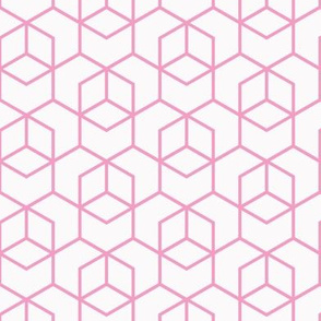 Hexagon Trellis - pink on white