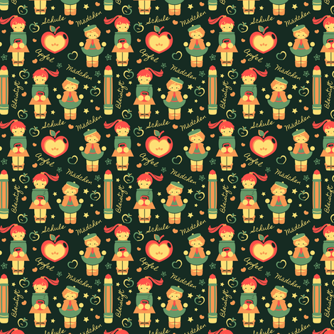 German Schoolgirls fabric by eppiepeppercorn on Spoonflower - custom fabric