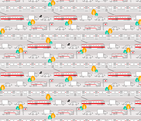 Toronto Traffic fabric by elainethebrain on Spoonflower - custom fabric