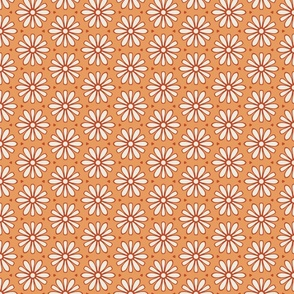 Cream and Rust Daisies on Dark Yellow/Orange