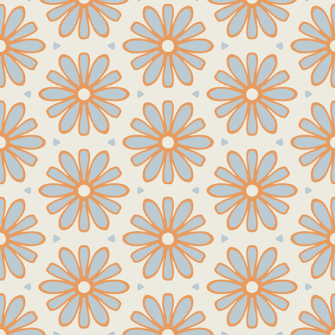 Light Blue and Dark Yellow Daisies on Cream