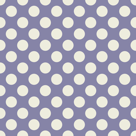 Cream Polka Dots on Dark Blue/Purple fabric by jumeaux on Spoonflower - custom fabric