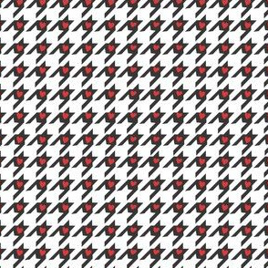 Tiny Red Hearts on Houndstooth