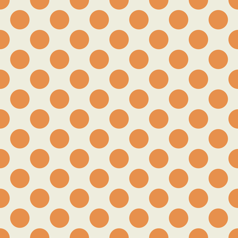 Orange Polka Dots on Cream fabric by jumeaux on Spoonflower - custom fabric
