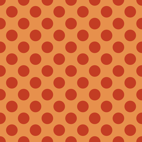 Rust Polka Dots on Dark Yellow/ Orange fabric by jumeaux on Spoonflower - custom fabric