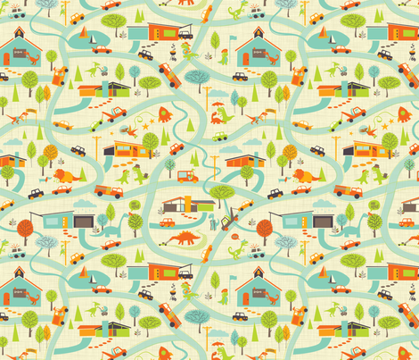 Hero-saurus Town fabric by jennartdesigns on Spoonflower - custom fabric