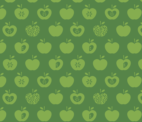 Apple-dark green fabric by pattern_bakery on Spoonflower - custom fabric