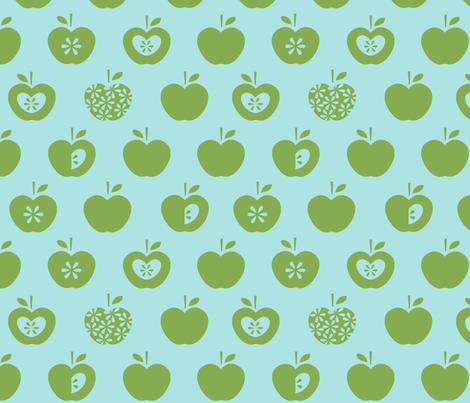 Apple-blue fabric by pattern_bakery on Spoonflower - custom fabric