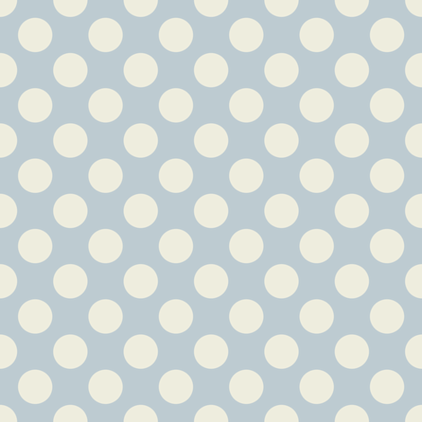 Cream Polka Dots on Light Blue