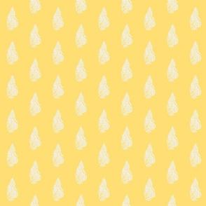 Curled Fern Chalk on Saffron - half drop
